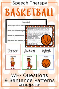 Basketball Text Passages and Sentence Frames for Upper Elementary is great for reviewing the sport's concepts. Includes listening for WH- information, sentence building, .This unit includes:8 text passages with who, when, where, why, and how information, 8 writing blocks for home practice, Data collection pages, 6 sentences with noun-verb-object and noun-verb-object-prepositional phrase visuals.|Vocabulary|Speech Therapy|Informational Text|Grades 3-6|#BasketballActivities