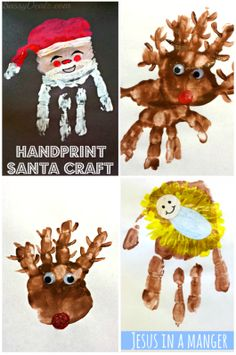 Cute and Easy Christmas Handprint Crafts For Kids! Santa Claus, Rudolph the red-nosed reindeer, baby jesus in a manger, and more art projects! Christmas Handprint Crafts, Santa Crafts, Handprint Art, Preschool Christmas, Christmas Activities, Christmas Crafts For Kids, Christmas Themes, Kids Christmas, Holiday Crafts