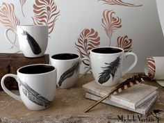 Feather Mugs by Laura Zindel from Michele Varian