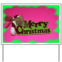 Pink Merry Christmas Yard Sign on CafePress.com