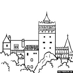 free coloring page of Bran Castle, Romania. Color in this picture of Dracula's Bran Castle and other Famous Places! You can save your colored pictures, print them and send them to family and friends! Castle Coloring Page, Flag Coloring Pages, Online Coloring Pages, Coloring Books, Coloring Sheets, Easter Colouring, Free Coloring, Coloring Pages For Kids, Bran Castle Romania