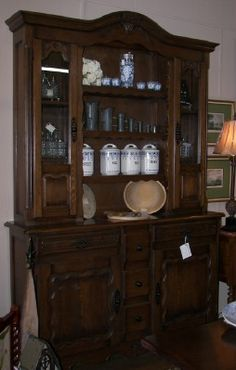Beautiful French 2 piece dresser, narrow and perfect addition to any dining room. View it at www.villageantiquegallerie.com or in downtown Pierceton at Village Antique Gallerie.