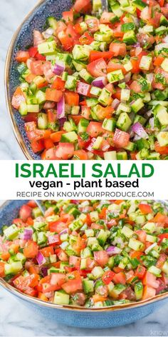 Israeli salad is a must make middle eastern recipe that is full of flavor! this side dish salad similar to shirazi salad persian cucumber and tomato salad vegan vegetarian appetizer lowcarb zero point weight watchers vegetable soup Healthy Salad Recipes, Whole Food Recipes, Diet Recipes, Vegetarian Recipes, Cooking Recipes, Vegan Vegetarian, Vegetarian Appetizers, Soup Appetizers, Vegan Recipes Summer