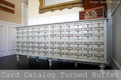 Card Catalog repurposed  http://www.dreambookdesign.com/2010/06/turning-old-junk-to-beauty.html