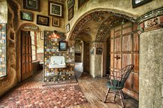 Fonthill: home of archeologist & tile maker Henry C Mercer, in Doylestown, PA. Built between 1908-1912, an early example of poured-in-place concrete w/ 44 rooms, 200+ windows, 18 fireplaces & 10 bathrooms. Interior was painted in pastels, now faded b/c of age & sunlight...built-in furniture & embellished with decorative tiles he made... extensive collection of ceramics embedded in the concrete of the house. The home also contains abt 1,000 prints, 6000+ books, & other artifacts from his…