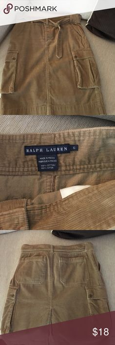 Corduroy Ralph Lauren Skirt Super nice Ralph Lauren Corduroy Skirt with side pockets,  Looks really nice with knee high riding boots! Ralph Lauren Skirts Midi