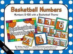 FREE Basketball Number Cards 0-100