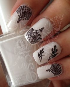Nail Art Cute Black Fairy Black Lace Nail Water Decals Transfers Wraps