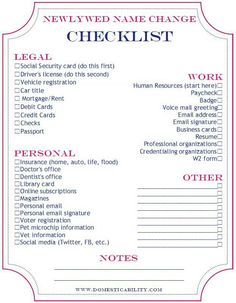 Name change checklist; very helpful for when I become a Mrs!