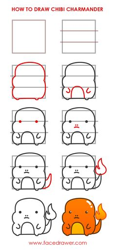 Learn how to draw cute chibi Charmander Pokemon step by step. Kawaii Charmander Pokemon drawing infographic.