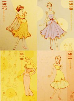 Fashion Plates from different years inspired by Disney Princesses (obviously modern works... but I love it!)