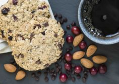 """Think flavors of toasted almond and chewy coconut complimented with tart cranberries and hints of chocolate. Sue started sending these """"breakfast"""" cookies to her daughter and college cycling teammates. They became an instant hit because of the flavor, nutrition, & energy they provided. With 4 grams of natural protein it is a popular breakfast cookie. Throw them in your bag on the way to work or simply enjoy with coffee at home (a heavenly combo!). Dairy Free • Egg Free • Vegan • Gluten…"""
