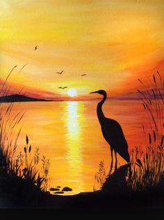 Crane at the sunset waters edge. Painting created at Graffiti Paintbar, Nashua NH Heron silhouetted in front of sunset by lake. Painting created at Graffiti Paintbar, Nashua NH Graffiti Paintbar in Nashua NH Bring's Out the Artist in Everyone - Design Art Scenery Paintings, Landscape Paintings, Watercolor Paintings, Acrylic Paintings, Sunset Acrylic Painting, Easy Nature Paintings, Watercolor Sunset, Sunset Art, Sunset Paintings