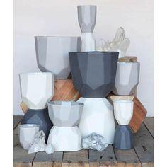 Quartz Faceted Ceramic Planter