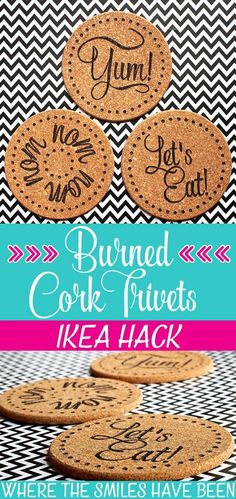 Easy Crafts To Make and Sell - Burned Ikea Cork Trivets - Cool Homemade Craft Pr. - Easy Crafts To Make and Sell – Burned Ikea Cork Trivets – Cool Homemade Craft Projects You Can - Easy Crafts To Make, How To Make Diy, Homemade Crafts, Easy Diy, Simple Diy, Cork Crafts, Fun Crafts, Amazing Crafts, Light Crafts
