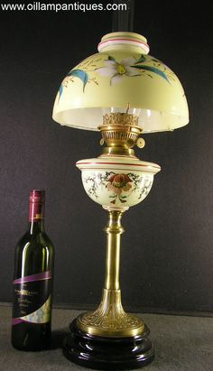 Ceramic Base Oil Lamp circa 1900 - Oil Lamp Antiques