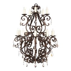 15 Light Cartier w/Crystals Mediterranean Chandeliers, Traditional Chandeliers, Nautical Lanterns, Branch Chandelier, Hollywood Regency Decor, Wrought Iron Chandeliers, Home Lighting, Light Fixtures, Ceiling Lights
