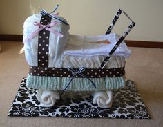 My version of a nappy pram. Thanks Pinerest for the ideas