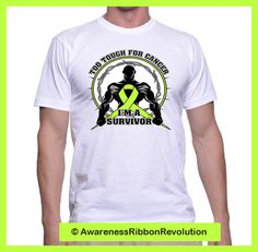 Too Tough For Lymphoma Cancer Shirt features a strong male silhouette taking on a lime green ribbon as a symbol for activism. Makes an empowering gift for anyone looking to take a stand against Lymphoma.