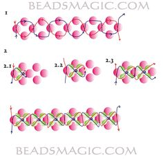 Free pattern for beautiful beaded bracelet Royal Violet. (Part 1 of 2 page instructions) U need:    pearl beads 5 mm    bicone beads 3-4 mm    seed beads 11/0  - See more at: http://beadsmagic.com/?p=3474#more-3474