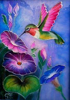 Humming Bird at Morning Glort Hummingbird Painting, Bird Painting Acrylic, Hummingbird Pictures, Glass Painting Designs, Bird Artwork, Bird Drawings, Painting Patterns, Painting Tutorials, Watercolor Paintings