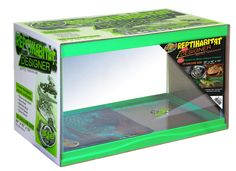 - 10 and 20 Gallon ReptiHabitat™ Designer Terrariums - Zoo Med's 10 and 20 gallon glass terrariums now available in Designer colors: Green, Blue, Pink, and Glow-in-the-Dark.
