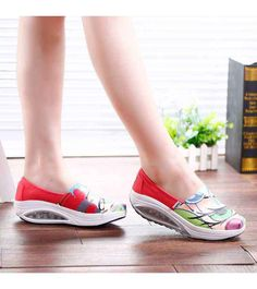 Women's #red slip on #rocker bottom sole shoe sneakers pattern design vamp, sewing thread, lightweight, Shock absorption Air-Sole, casual, leisure occasions.
