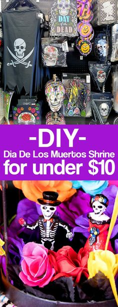 How to make a day of he dead altar or OFRENDAS. What is dia de los muertos all about? This post explains plus has a tutorial for making day of the dead shrines with supplies from 99 Cents Only Stores. Halloween Projects, Diy Halloween Costumes, Halloween Party, Halloween Decorations, Halloween Stuff, Halloween Ideas, Diy Projects, Halloween Halloween, Vintage Halloween