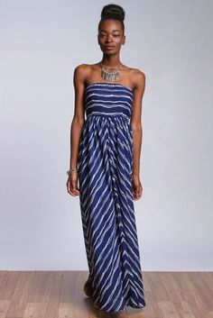 *** Striped Maxi Dress *** WOVEN TUBE MAXI DRESS WITH STRIPES AND HIDDEN ZIPPER IN THE BACK