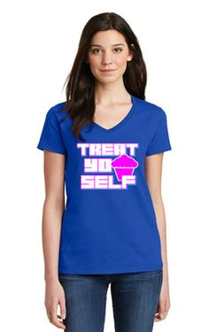 """TREAT YO SELF"" V-Neck T-SHIRT INSPIRED BY DONNA & TOM ON PARKS & RECREATION"