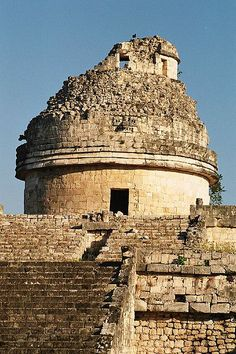 Mayan astronomers used observatories such as this one, located in the ancient Mayan city of Chichén Itzá, Yucatan, Mexico. Windows at the top level, now partially destroyed, were strategically placed to observe the positions of sunrise and sunset and the motions of the Moon and Venus.  by Bruno Girin