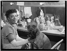 Billie Holliday and her dog Mister, 1946.