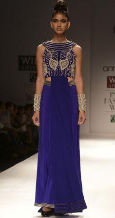 Blue front drape crop top by ANAIKKA. http://www.perniaspopupshop.com/wills-fashion-week/annaikka #fashionweek #willslifestyleindiafashionweek