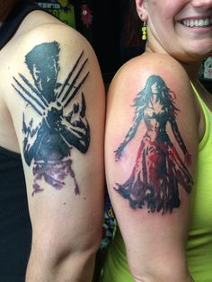 Our new artwork!  My husband's first (Wolverine) and my 7th (Phoenix/Jean Grey). Tattoo work done by Chris, Far Beyond Driven in Bloomsburg, Pa