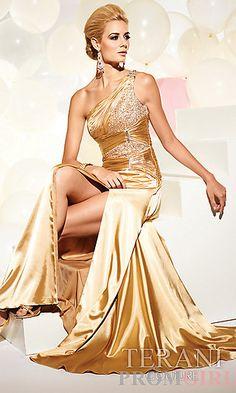 Terani One Shoulder Gold Prom Dress at PromGirl.com. Love love love love