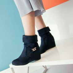 Europe America Style Ladies Shoes Low Heel Waterproof Rubber Sole Ankle Boots