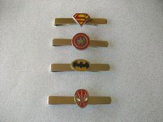 Superhero Tie Bar - Tie Clip - Captain America  Superman  Batman Spider-Man  Great for Groomsmen Gifts Groom Gifts Superhero Wedding