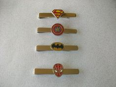 Superhero Tie Bar - Tie Clip - Captain America  Superman  Batman Spider-Man  Great for Groomsmen Gifts Groom Gifts Superhero Wedding