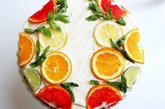 Citrus Cake with Lemon Curd Filling and Orange Lemon Icing - yummy! Stella Cake: Citrus Cake with Lemon Curd Filling and Orange Lemon Icing Pretty Cakes, Beautiful Cakes, Citrus Cake, Cake Recipes, Dessert Recipes, Dinner Recipes, Fruit Dessert, Lemon Curd Filling, Lemon Icing