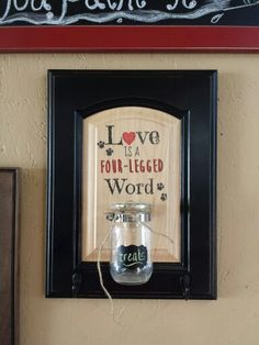 Love is a four legged word. Pet treat jar leash rack wall hanging made onto cabinet door. Made by and for Cabinet Doors & More in Fordsville KY. Cabinet Door Crafts, Old Cabinet Doors, Old Cabinets, Custom Cabinets, Woodworking Guide, Custom Woodworking, Woodworking Projects Plans, Diy Craft Projects, Wood Projects