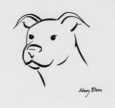 Commissioned minimalist drawing (one of three for the customer to choose from) Brush pen on paper, ~LaWawa got this as a tatoo --> [link] M. Cat On Book 2 Animal Line Drawings, Abstract Pencil Drawings, Cute Drawings, Puppy Drawings, Drawing Animals, Pitbull Tattoo, Pitbull Drawing, Tier Doodles, Minimalist Drawing