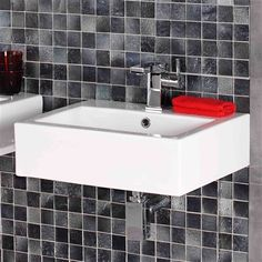 Cutting-edge Cybille Square Counter-top Basin 51x41cm featuring high quality thick edges and contemporary design for any modern family bathroom.
