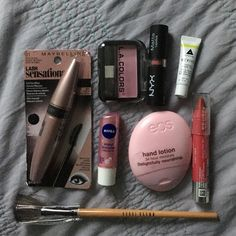 Makeup bundle Maybe line lash sensational mascara , la colors blush , Nivea kiss of shimmer lip balm , eos hand lotion , neutrogena lip color stick in cherry pink , fan brush , nyx matte lipstick in natural , cheek tint . IF YOU WANT ONLY SOME THINGS TO PICK AND CHOOSE LET ME KNOW AND I'LL MAKE A NEW LISTING FOR YOU! (: Sephora Makeup