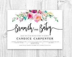 Baby shower invitation flora - brunch for baby invitation - boho baby shower invitation - rustic baby shower invitation - baby shower floral