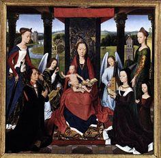 """HANS MEMLING   """"Tríptico Donne"""" (1475, National Gallery, London).  ÓRGANO PORTATIVO Y REBEC Fue pintado por encargo del noble galés Sir John Donne al que pinta de rodillas a la derecha de la Virgen en la tabla central. Cristo niño, sentado en las rodillas de su madre aparece bendiciéndole. En las hojas aparecen los dos santos patronos del donante, San Juan Bautista y San Juan Evangelista. El conjunto es de gran luminosidad y colorido. El reverso de las hojas muestra a San Cristóbal y a San…"""