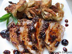 Pork Fillet with Honey & Mustard Glaze and Fried Artichokes