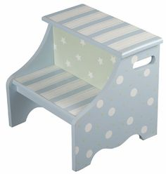 Twinkle Blue Step Stool This kids step stool is hand painted and made of wood composite. Personalize your unique step stool with your child's name or another phrase up to 10 characters. All of Renditi Hand Painted Stools, Painted Chairs, Hand Painted Furniture, Diy Furniture, Diy Kids Kitchen, Kids Stool, Step Stools, Wood Steps, Kitchen Stools