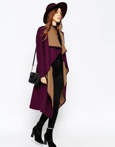 Image 1 of ASOS Coat With Waterfall Front And Belt