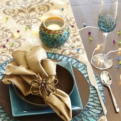Teal Crackle Drinkware | Pier 1 Imports LOVE EVERYTHING ON THIS TABLE,WOULD LOOK GREAT WITH MY DISHES!!