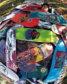 Skateboard icon Steve Caballero with all of his pro model boards